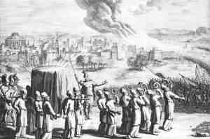 The covered ark with golden staves carried by the priests, and seven priests with rams' horns, at the siege of Jericho, in an eighteenth-century artist's depiction.