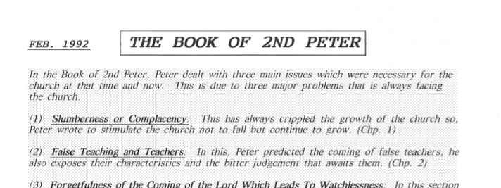 sermon notes, book of peter